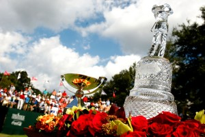 The winner's trophy and FedExCup are seen on the first tee during the final round of THE TOUR Championship presented by Coca-Cola, the final event of the PGA TOUR Playoffs for the FedExCup, at East Lake Golf Club on September 27, 2009 in Atlanta, Georgia.