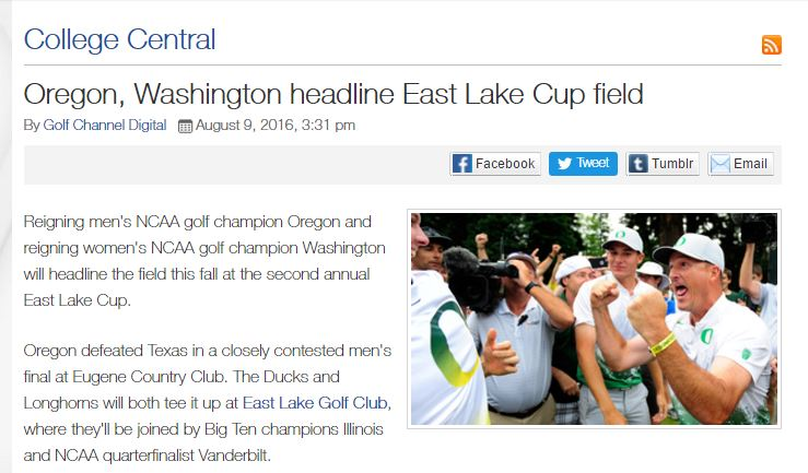 Teams Announced for 2016 East Lake Cup